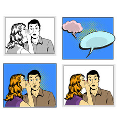 Man and woman whisper pop art comic retro style vector