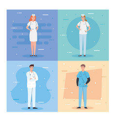 Medical team and staff nurses and doctor men vector