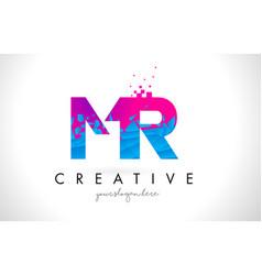 Mr m r letter logo with shattered broken blue vector