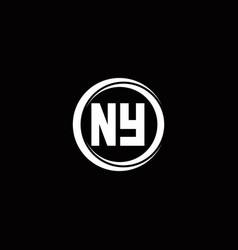Ny logo initial letter monogram with circle slice vector