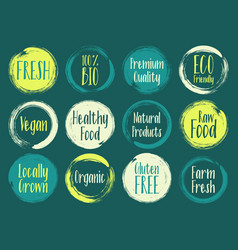 Painted organic labels bio emblems collection vector