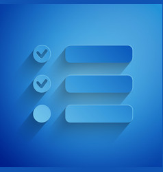 Paper cut task list icon isolated on blue vector