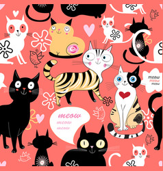 pattern in love with a cat vector image