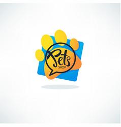 Pets shop logo image vibrnt blue speech vector