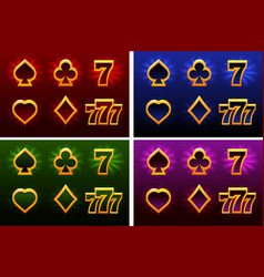 playing card symbols and 777 suit of playing vector image
