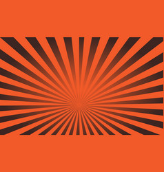 Pop art colorful rays background black and orange vector