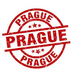 Prague red round grunge stamp vector
