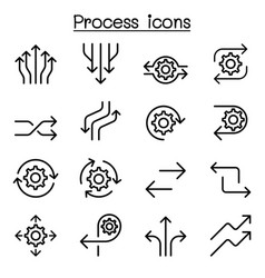 Process icon set in thin line style vector
