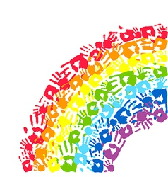 rainbow made from hands vector image