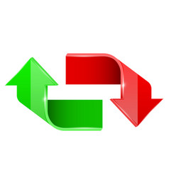 red and green arrows up and down 3d symbols vector image