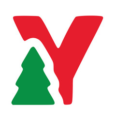 Red letter y with fir clip art christmas vector