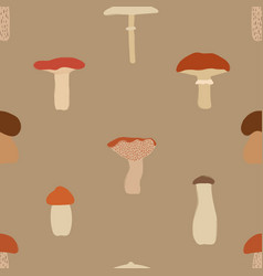 retro seamless pattern with mushrooms vector image