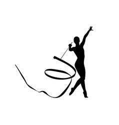 Rhythmic gymnastics exercise ribbon vector