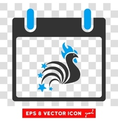 Rooster Fireworks Calendar Day Eps Icon vector image