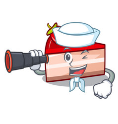 sailor with binocular strawberry cake mascot vector image