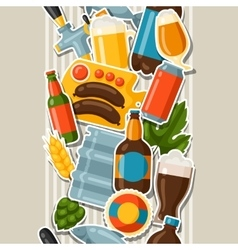 Seamless pattern with beer stickers and objects vector
