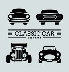 set classic car front view icon vector image