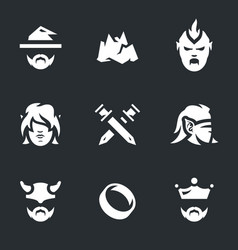 set fantasy story icons vector image