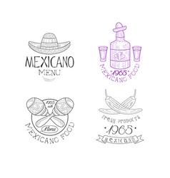 set of 4 original logos for mexican vector image