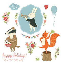 set of cartoon characters and holidays elements vector image
