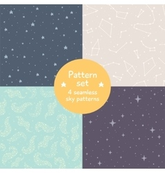 Set of cute simple seamless patterns vector