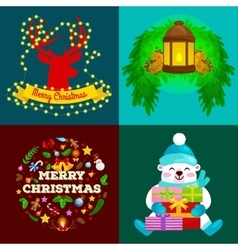 Set of greeting cards and banners Merry Christmas vector
