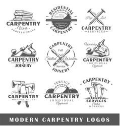 set of modern carpentry labels vector image