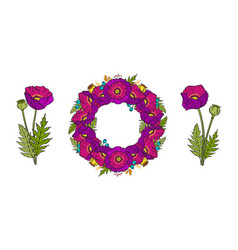 set of poppy wreath and bouquets vector image