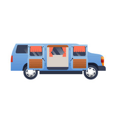 side view open motorhome camper van isolated vector image