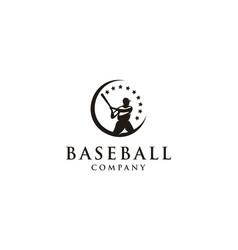 Silhouette baseball player logo design vector