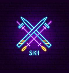 Ski neon label vector