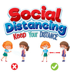 social distancing banner with cartoon character vector image