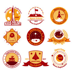 Space colourful emblems collection vector