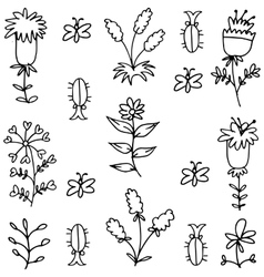Spring flower doodles vector