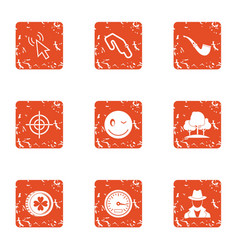 Spy target icons set grunge style vector