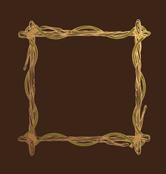 Square golden frame made of branches decorative vector