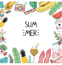 summer template with cute simple style hand drawn vector image
