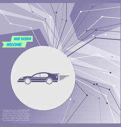 Super car icon on purple abstract modern vector
