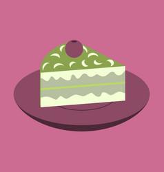 Sweet dessert in flat design berry pie on a plate vector