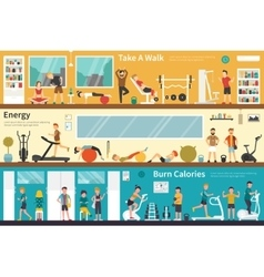 Take A Walk Energy Burn Calories flat interior vector image