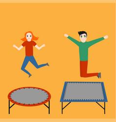 trampoline for children gymnastic sport vector image