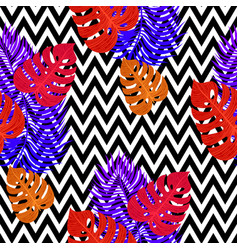 Tropical seamless pattern with exotic vivid leaves vector
