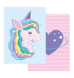 unicorn with rainbow mane purple heart love vector image