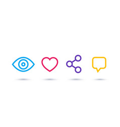 View like share comment linear icons on white vector