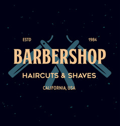 vintage barbershop label template for the vector image