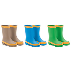 waterprorain rubber boots set realistic 3d vector image