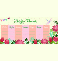 Weekly planner with dragonfly and protea flowers vector