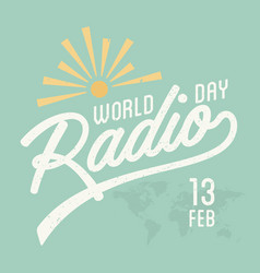 World radio day vintage vector