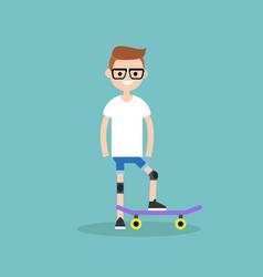 Young beginner skater wearing kneecaps flat vector