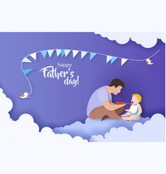 young man father feeding baby with spoon vector image